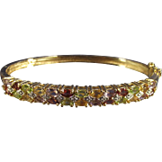 Vintage Multi Gemstone Sterling with Gold Wash Hard Bangle Bracelet