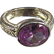 Vintage Sterling Ring with Pink- Purple Stone