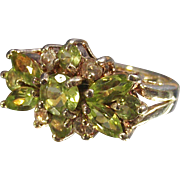Vintage Sterling Cocktail Spray Style Ring with Peridot's and Small Diamonds