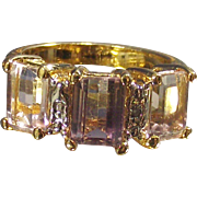 Vintage Ametrine Three Stone Ring Emerald Cuts