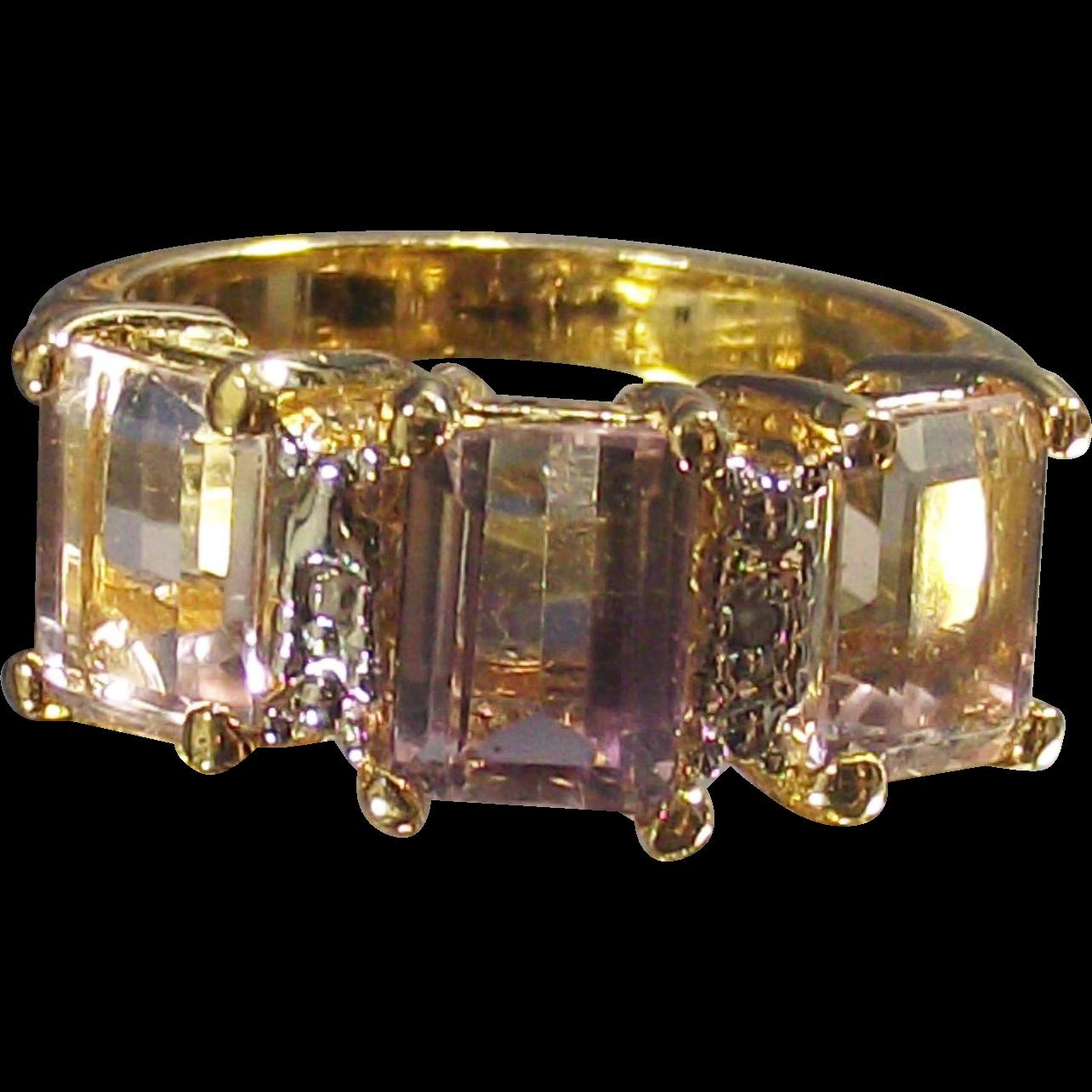 Vintage Ametrine Three Stone Ring Emerald Cuts