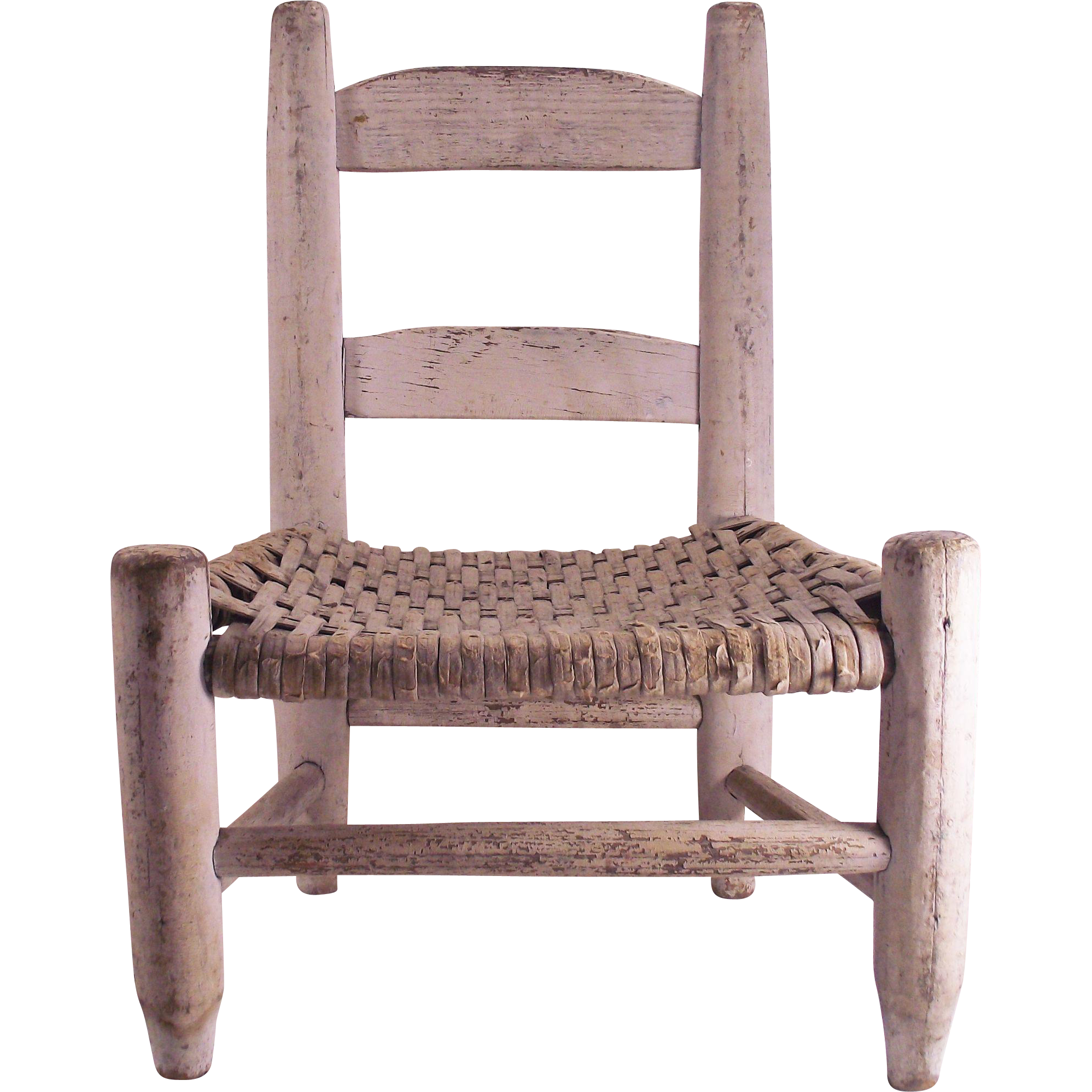 Vintage Childs Chair Woven Seat and original Milk Paint