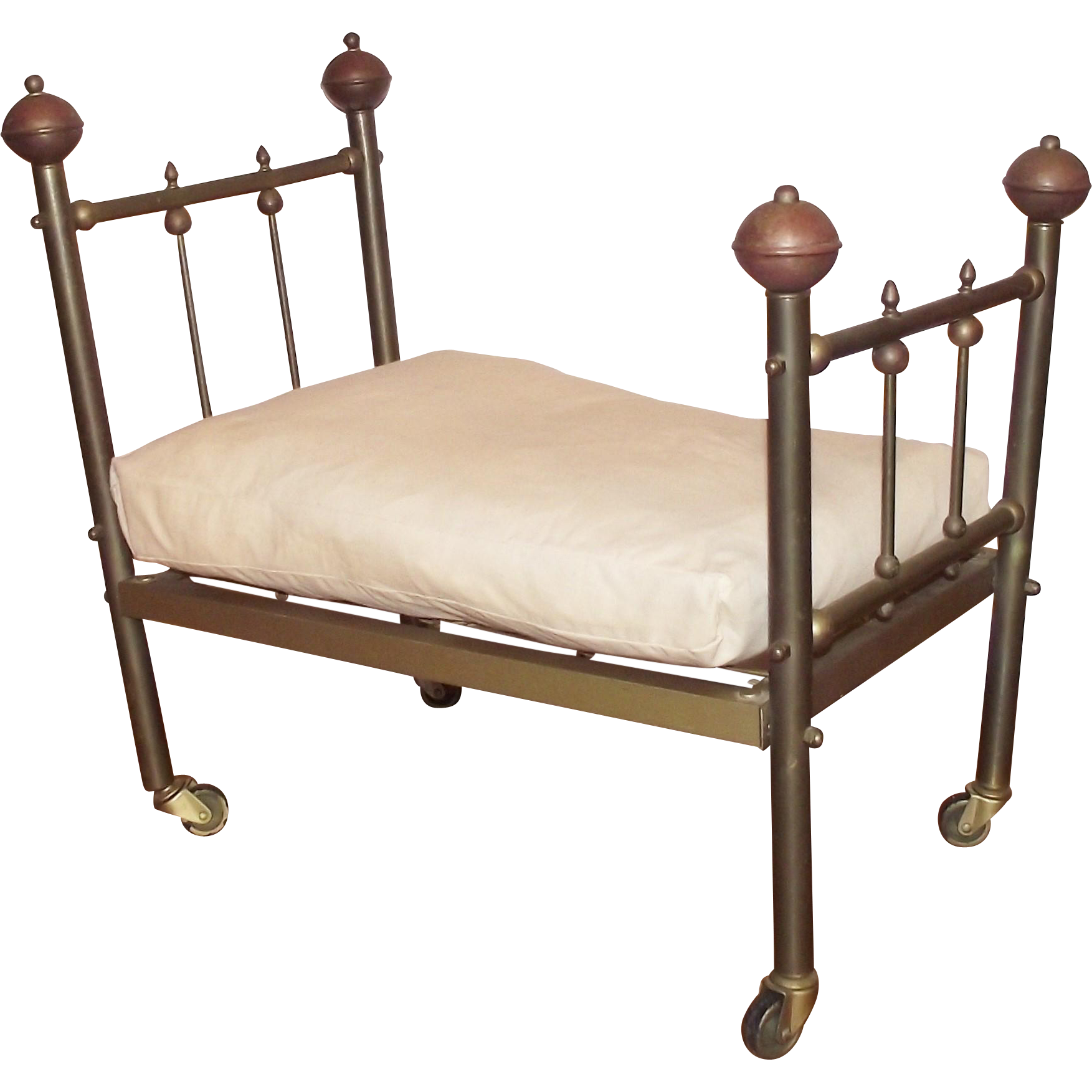 Victorian Brass Doll Bed with Feather Mattress