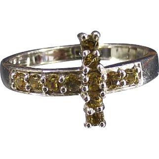 Vintage East West Christian Cross Ring Yellow Stones