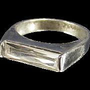 Vintage East West Elongated Baguette Sterling Silver Ring