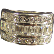 Vintage Cigar Band Ring Sterling Clear Baguettes and Rounds size 6 ½