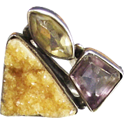 Vintage Designer Ring Amethyst Citrine and Golden Drusy Quartz set in Sterling Silver size 6 ¼