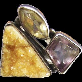 Vintage Designer Ring Amethyst Citrine and Golden Drusy Quartz set in Sterling Silver size 6 ¼
