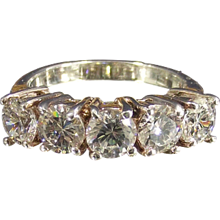 Vintage Five Stone Round CZ's Sterling Ring