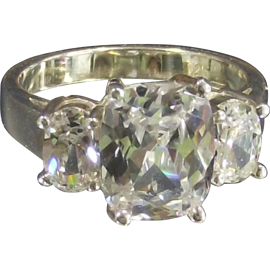 Vintage Past Present and Future Oval CZ's Sterling Ring Size 6 ½