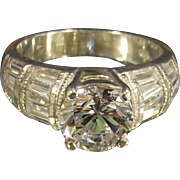 Vintage Round CZ with Tapered Baguettes Sterling Ring Size 6 ½