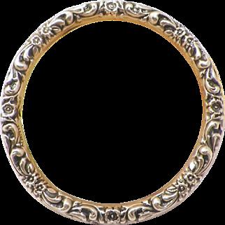 Art Nouveau Repousse Sterling Floral Bangle Bracelet
