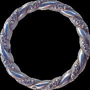 Antique Art Nouveau Sterling Silver Puffy Repousse Twisted Bangle Bracelet