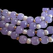 Vintage Lavender Jade and Pearl Necklace