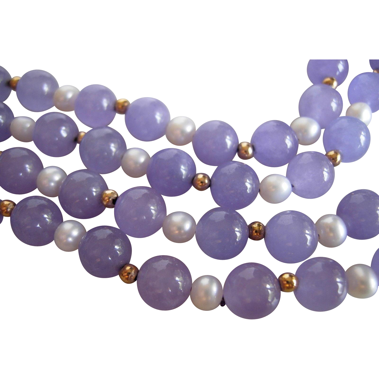 Vintage Lavender Jade and Pearl Necklace
