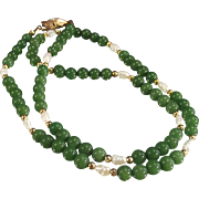 Vintage Green Jade and Fresh Water Pearl Necklace