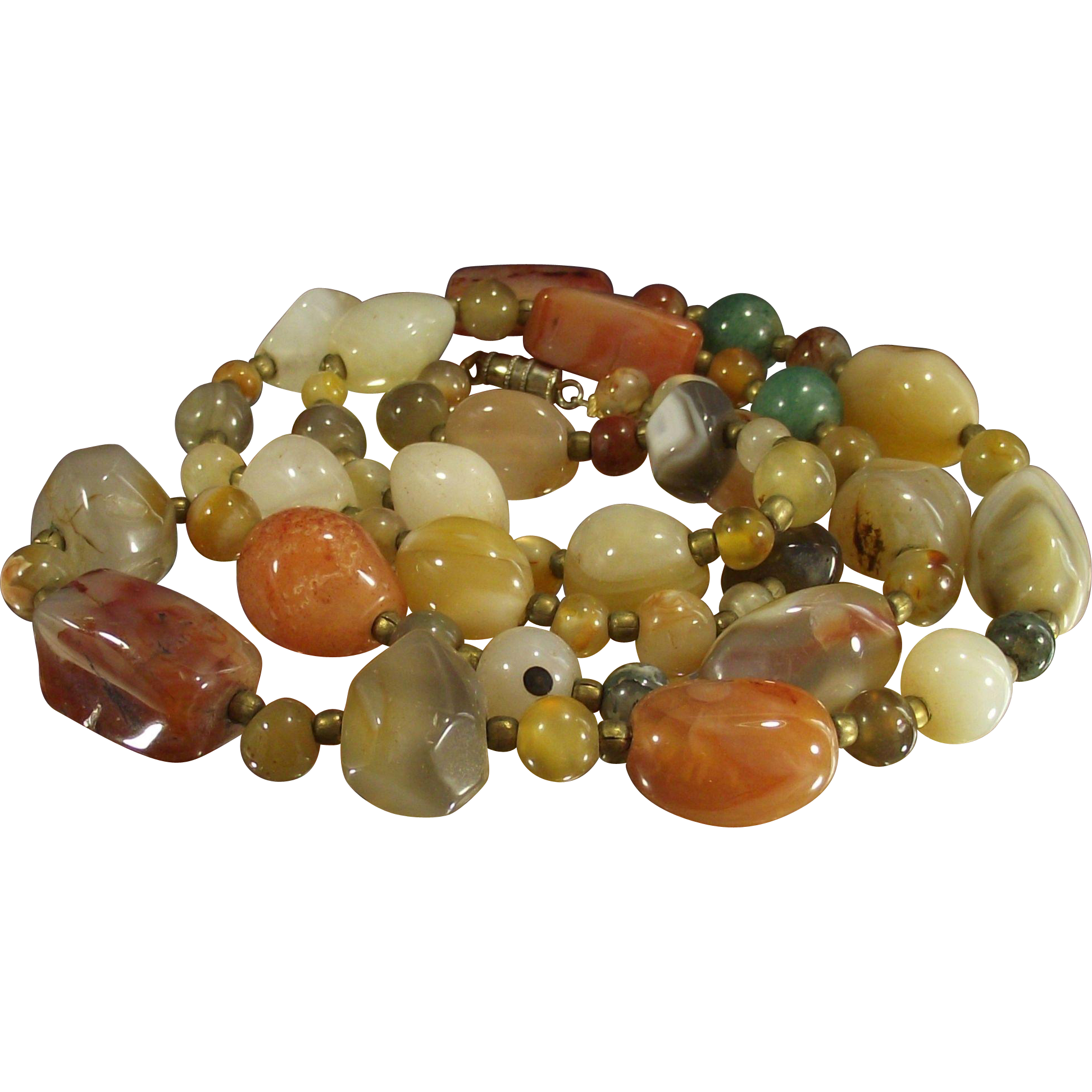 Vintage Multi Gemstone Agate Necklace