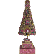 Vintage Decorated Bottle Brush Tree 21Inches Tall done in Pinks, Greens and Gold