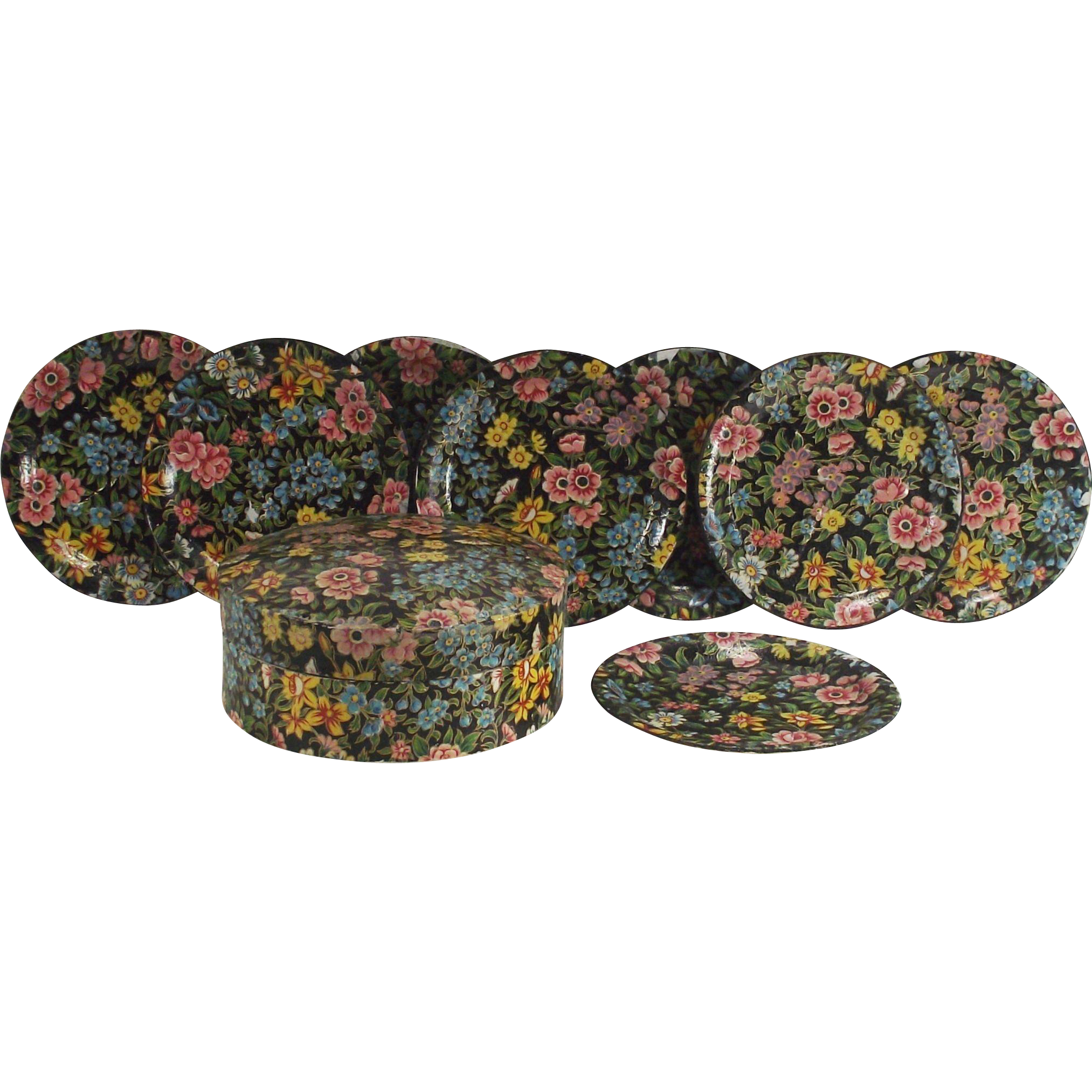Vintage 1950s All Over Chintz Pattern Lacquered Coasters Set of 8