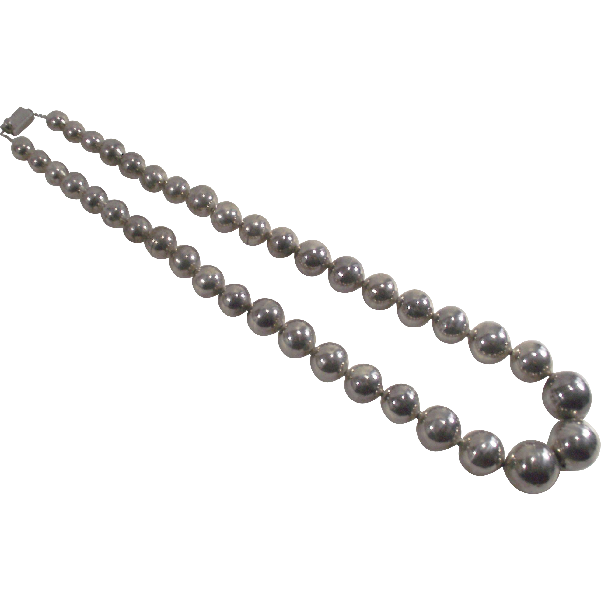 """Vintage Taxco 1"""" Large Beads Sterling Silver Graduated  Necklace"""