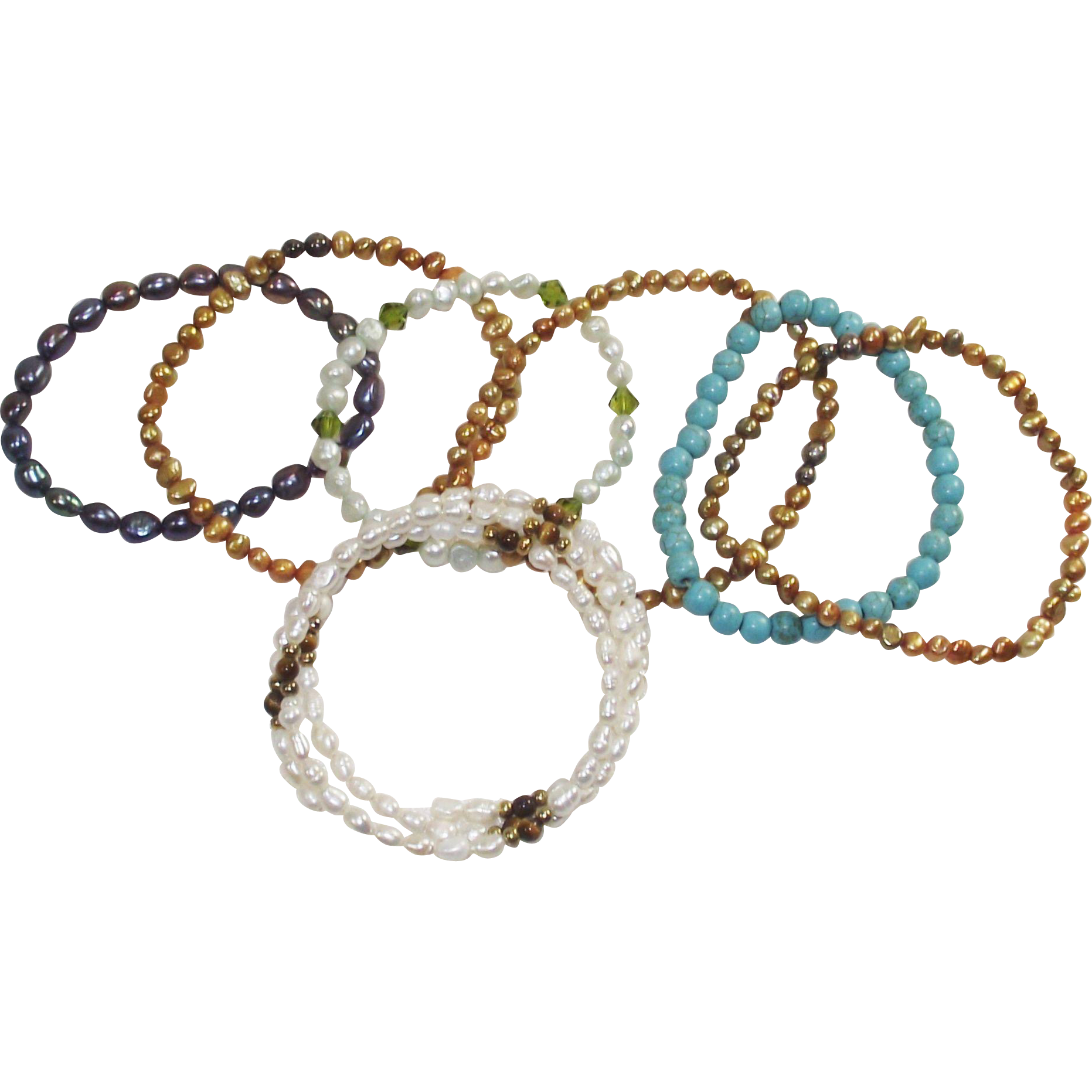 Vintage Stretch and Expandable 7 Piece Collection Bracelets Pearls