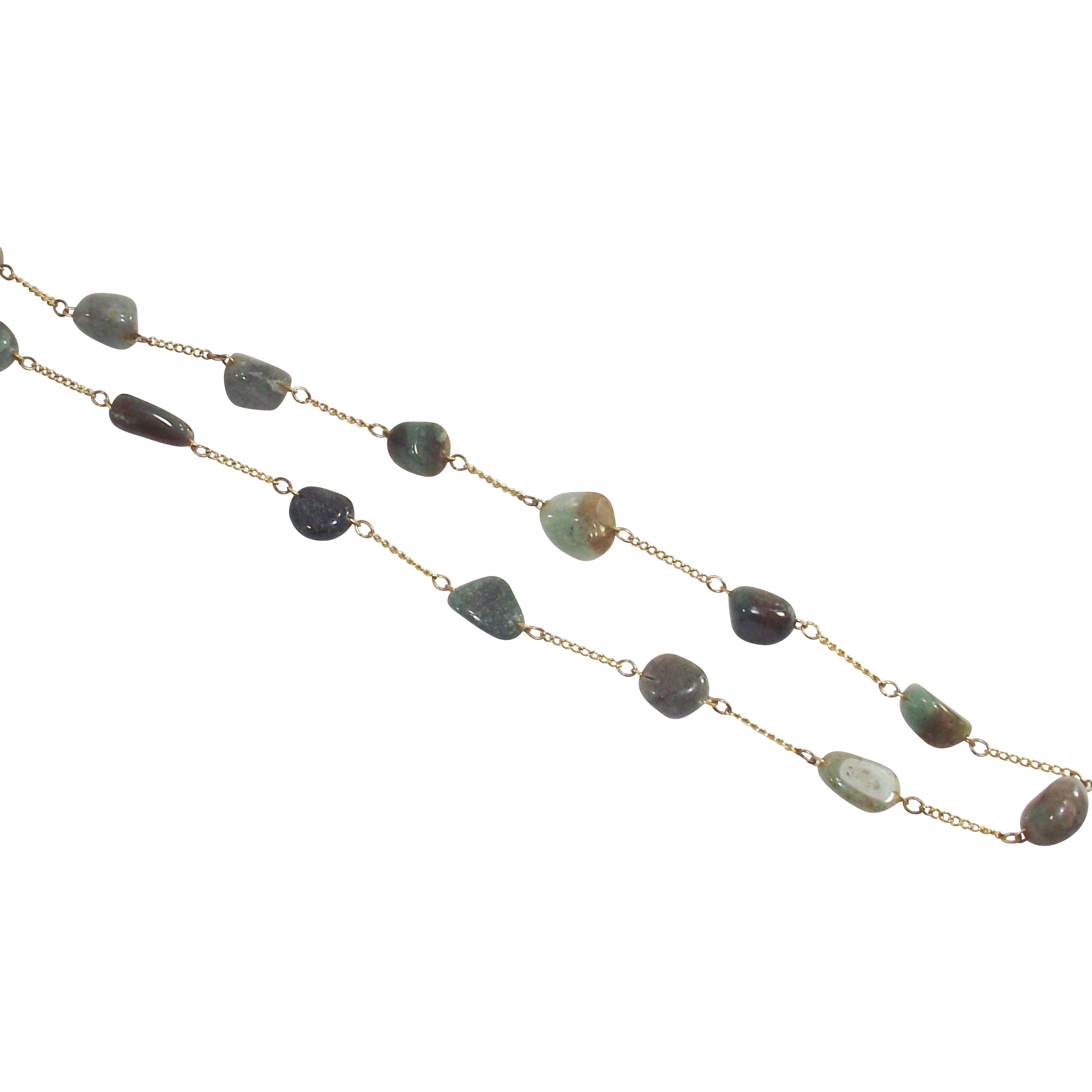 Vintage Tumbled Aventurine Necklace Gold Tone Chain