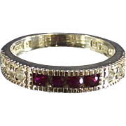 Vintage Sterling Red and Clear Cz's Half Eternity Ring