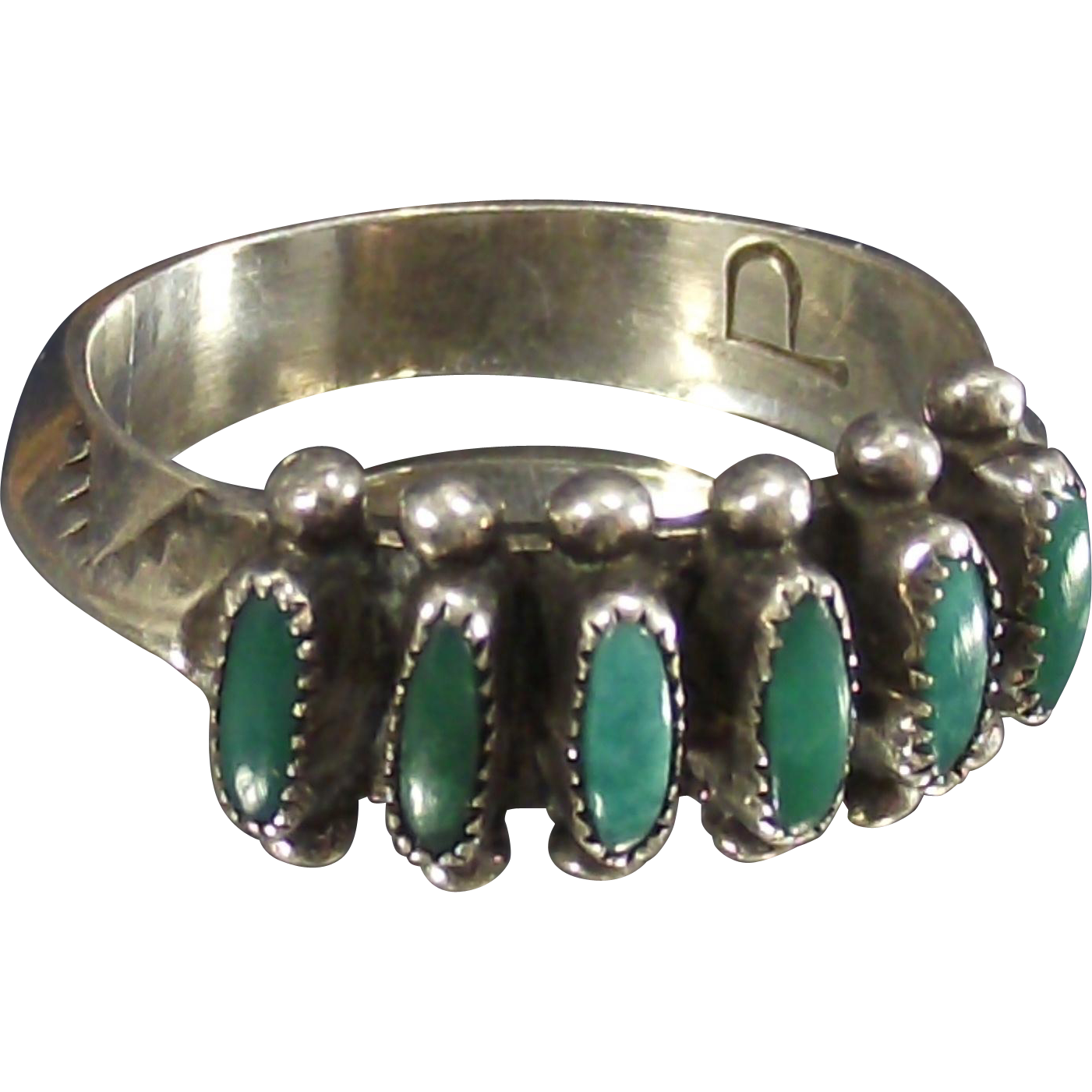 Vintage Artist Signed Zuni Needle Point Sterling Band Ring