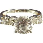 Vintage Large Round Cz Ring set in Sterling