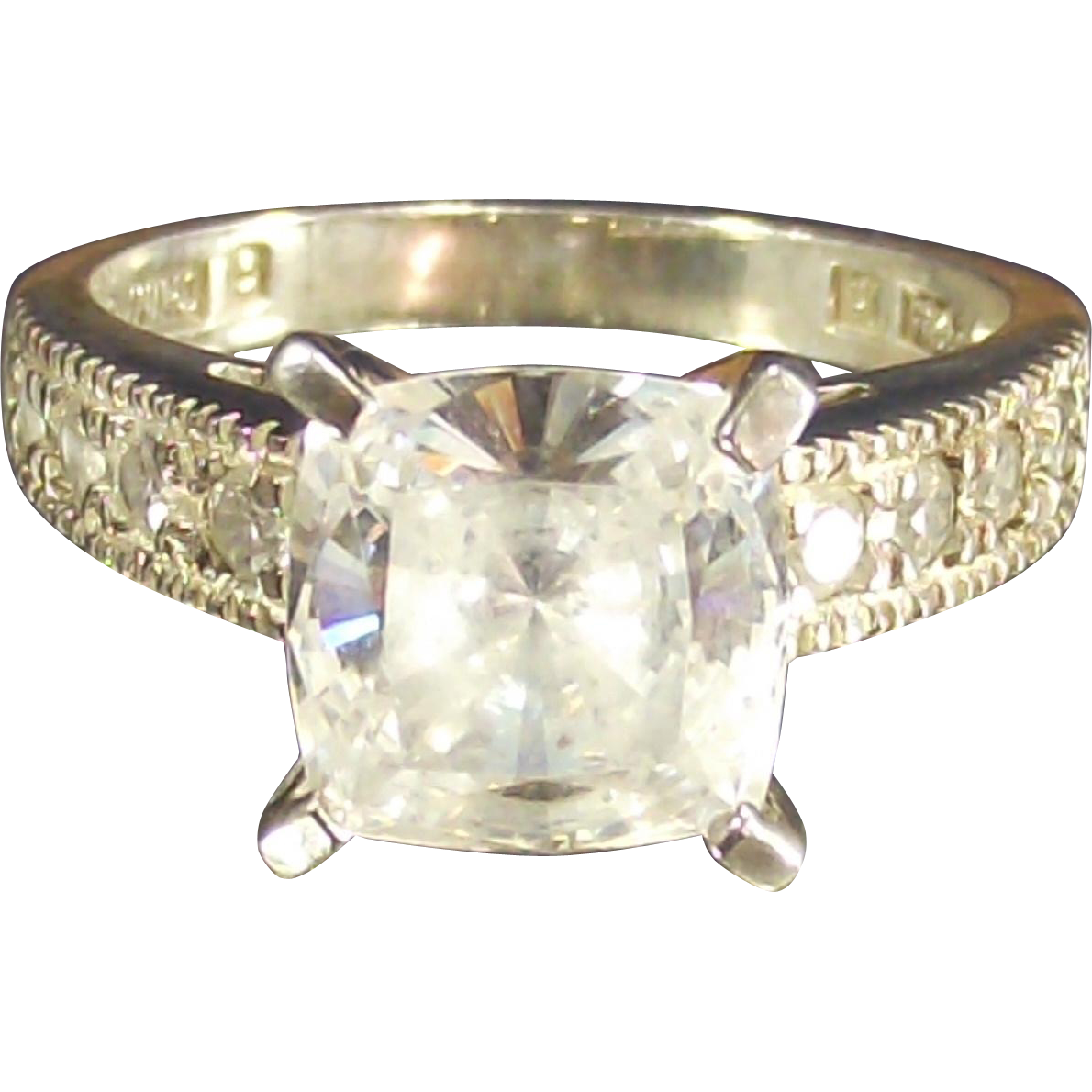 Vintage Large Princess Cut Cz Ring set in Sterling
