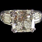 Vintage Spectacular Large Square Cut CZ Sterling Ring