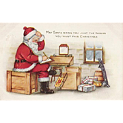Vintage Santa Whitney Post Card He is Checking His Last Minute List