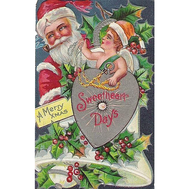 Vintage Santa Claus Post Card with Cupid Merry Christmas Sweetheart Days