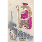 Vintage Teddy Bear Santa Claus Post Card with Basket Full of Teddy Bears Embossed Card