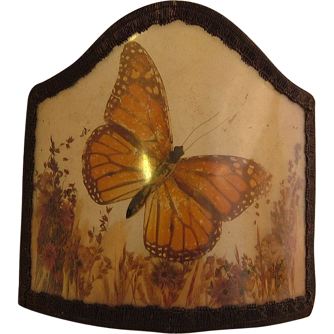 Vintage Arts and Crafts era Candle Stick Shade Butterflies