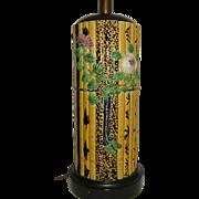 Vintage Majolica Bamboo Pattern Table Lamp  Fantastic and Tall