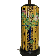 Vintage Majolica Bamboo Pattern Table Lamp  Fantastic and Tall
