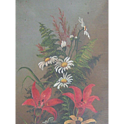 Victorian Oil on Canvas Mixed Bouquet Flowers and Ferns