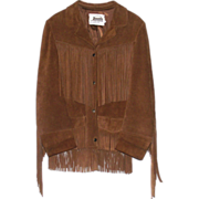 Vintage Ladies Cow Leather Western Fringe Jacket