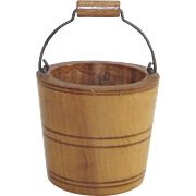 Vintage Wooden Bucket with Bail Handle Hand Turned Dated 1900   Perfect for Your Doll
