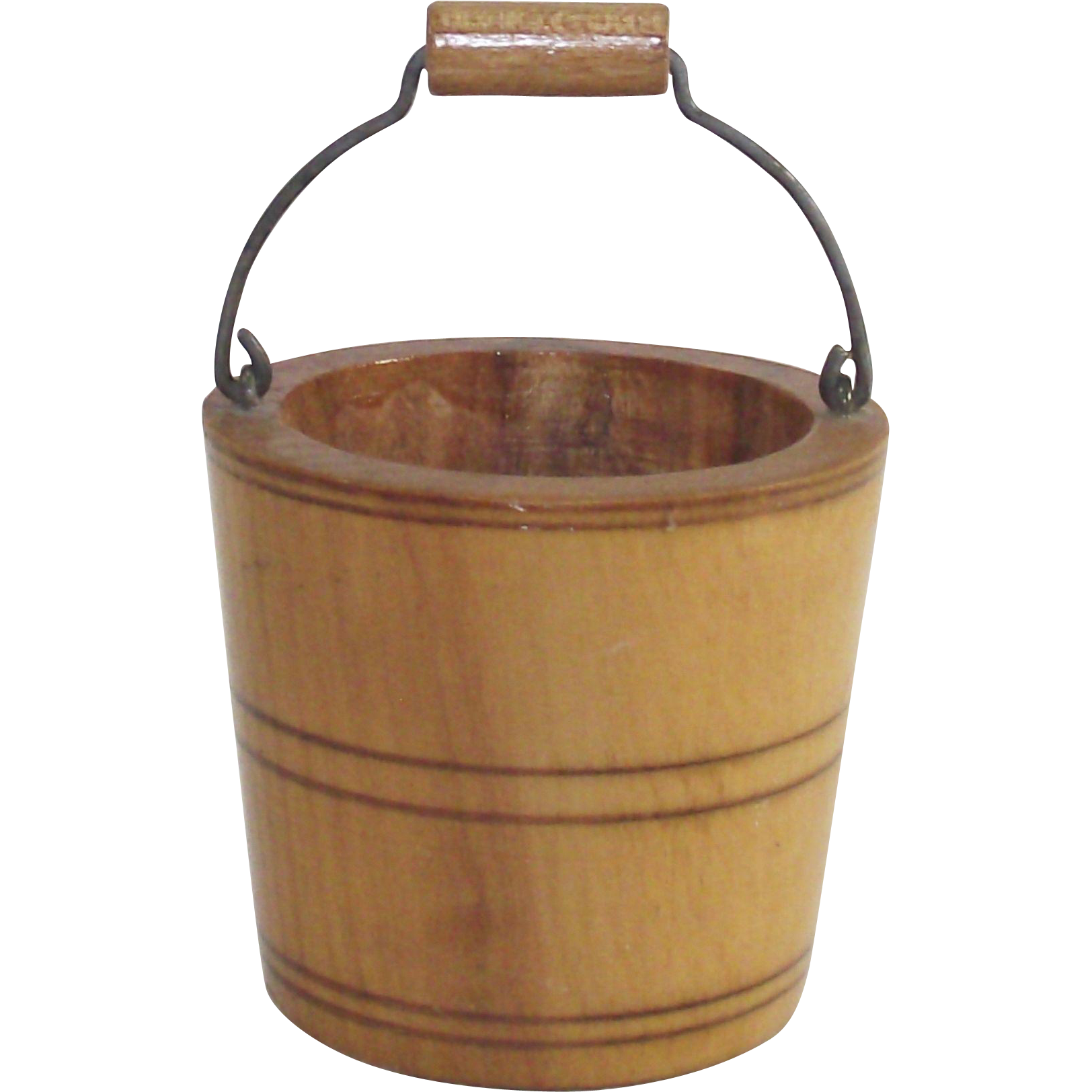 Vintage Thread Holder Wooden Bucket with Bail Handle  Hand Turned  Dated 1900