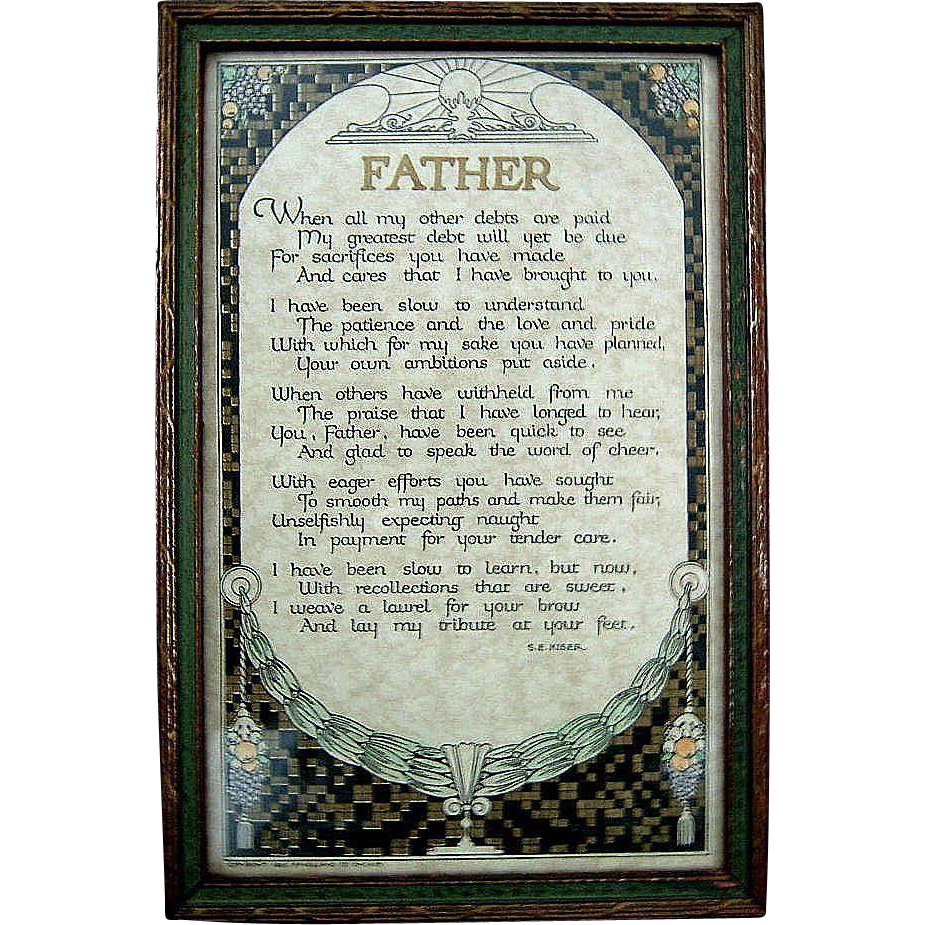 Vintage Art Deco Father Motto Circa 1920s