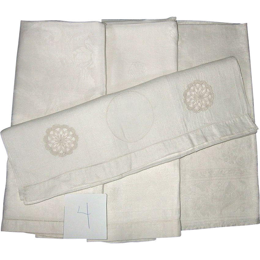 Victorian Hand Towels Four Piece All White group number 4