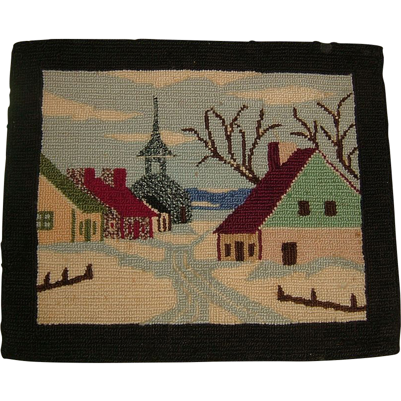 Antique Quebec Hooked Rug Village Scene Circa 1900