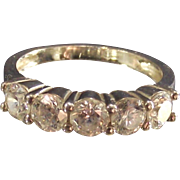Vintage Sterling 5 Stone CZ Band Ring