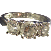 Vintage Sterling Past Present Future Clear CZ Ring