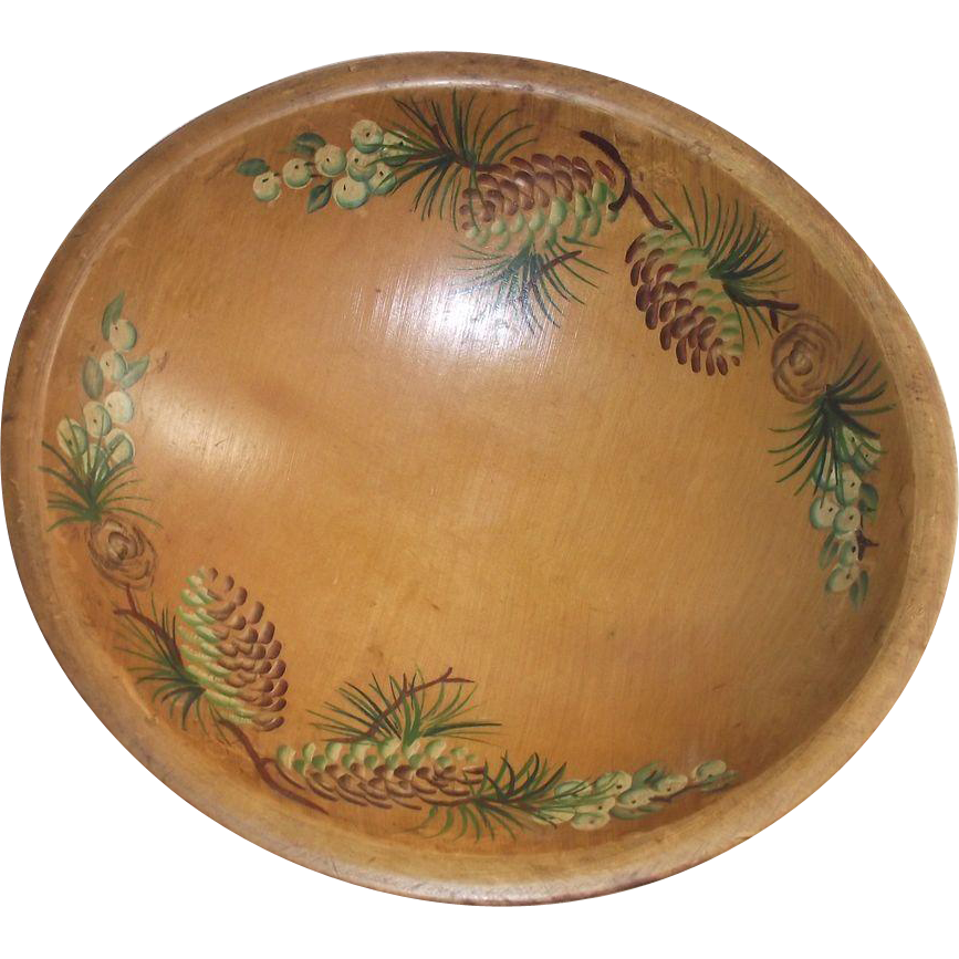 1950u0027s hand painted pine cones wooden bowl by