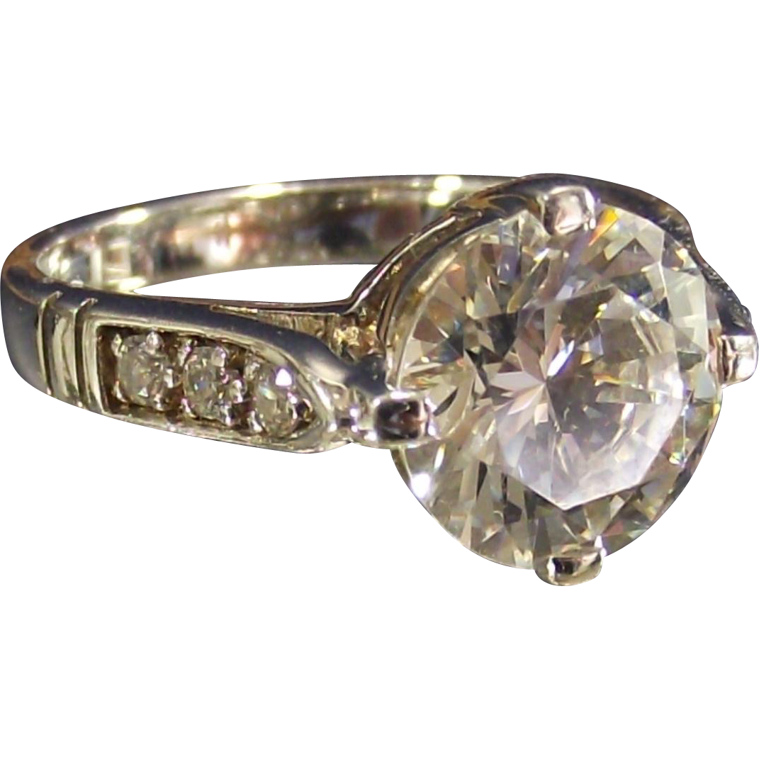 Vintage LARGE CZ Solitaire set in Sterling Ring