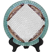 Vintage English Majolica Napkin Plate with Basket Weave Background