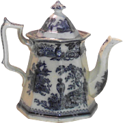Victorian Flow Blue Coffee Pot Jeddo Pattern by William Adams 1849